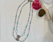 Double Strand Ladies Opaque Swarovski Crystal Necklace with Silver Floral Centerpiece