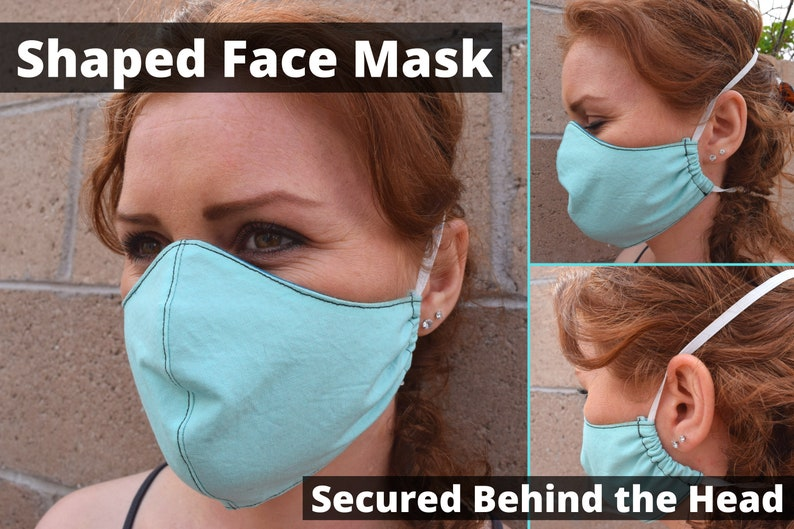 Cloth Face Mask Shaped Secured Around Head For Greater image 0