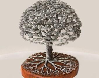 Sculpture Tree bonsai wire, handmade.