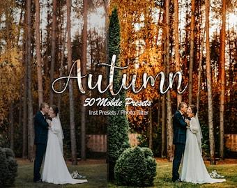 50 Autumn Mobile Lightroom Presets, preset mobile Instagram, autumn colours presets, Desktop Presets, Instagram Filter, Boho Preset