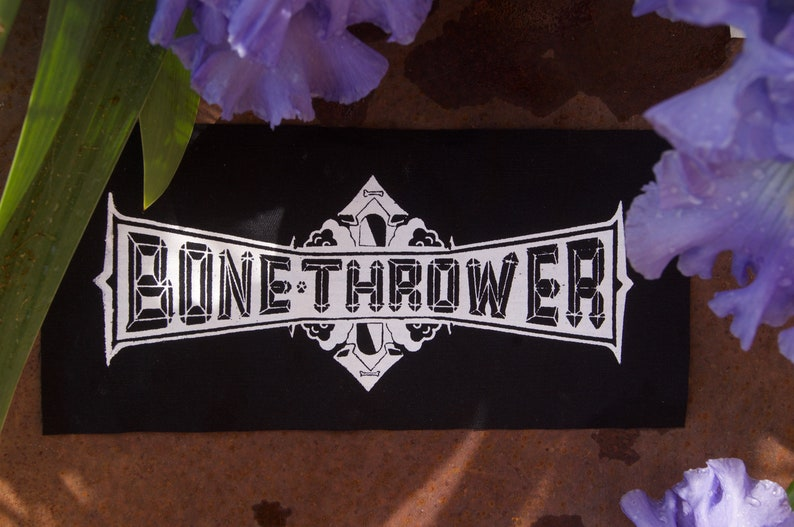 Large Bone Thrower Patch White Ink on Black
