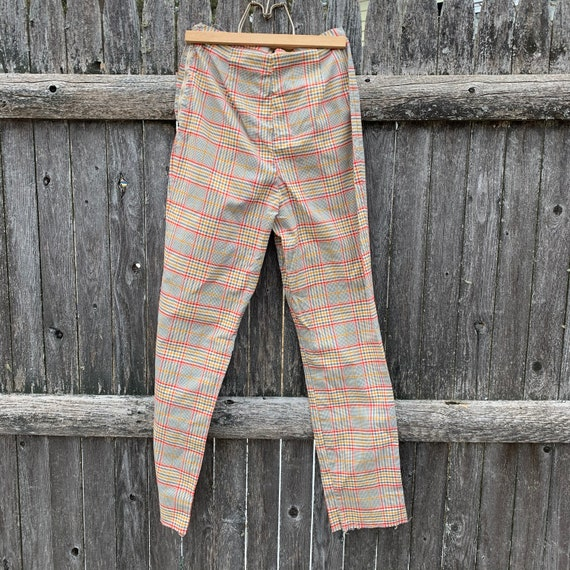 Vintage 1970's high waisted plaid pants