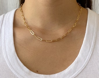 Lapis Chunky Chain Necklace Chunky Gold Chain Gold Necklace Blue Stone Necklace Gold Link Chain Fashion Chain Trendy Chain Oval Link Chain