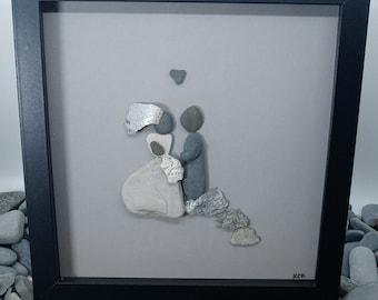 Pebble Art Wedding Couple, Pebble Art Bride and Groom, Framed Wedding Pebble Picture, Pebble Art Wedding Gift, Handmade Pebble Wedding Art