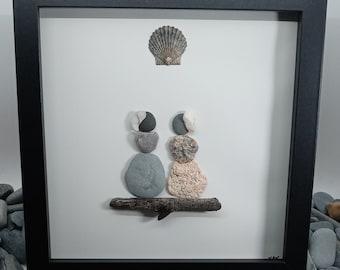 Pebble Art Friends, Pebble Art Girls, Sisters Pebble Art, Framed Pebble Ladies, Friends Pebble Picture, Pebble Art Gift for Friend,