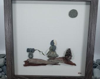 Pebble Art Girl Walking Dog, Framed Pebble Picture of Girl With dog, Pebble Art Gift For Dog Lover, Puppy Dog Pebble Art, Handmade Dog Art