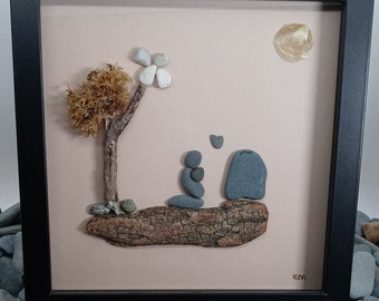Pebble Art Loss of Loved One, Loss of Pet Pebble Picture, Handmade Gift For Grief, Framed Grief and Mourning Picture, Gift For A Loss