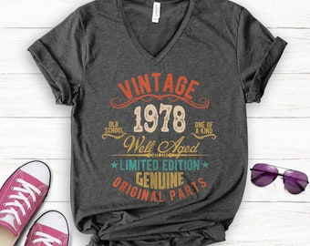 42nd Birthday Gift Present Limited Aged To Year 1978 Womens Heather T-Shirt Top