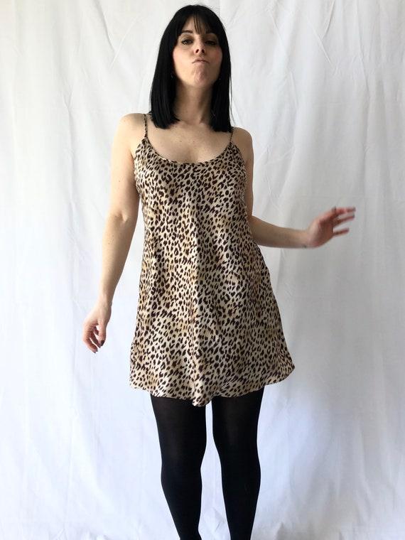 Vintage 90s Leopard Print Slip Dress