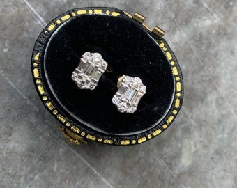 Vintage Baguette and Round Diamond Earrings in 18ct gold.