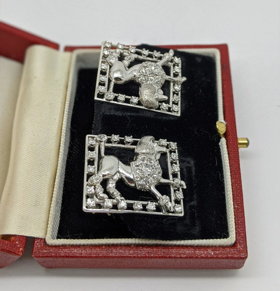1960s Vintage Poodle Diamond Clip On Earrings