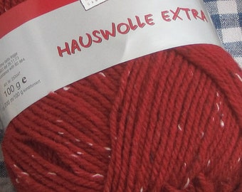 House wool tweed in red - sturdy country house wool for knitting and crochet - wool and yarn