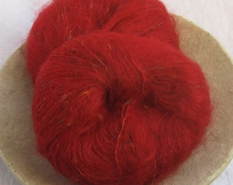 Mohair 100g in red with colour effect mohair yarn for knitting and crocheting Soffiata by Trio/Switzerland