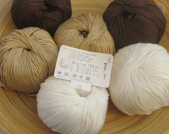 Yarn Set Nature Beige Brown 300g Pure Cotton - GOLF by Lang for knitting and crocheting