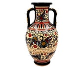 Greek Vase Amphora 26cm with snakes formed in his handles,Corinthian art