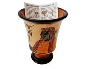 Pythagorean cup,Greedy Cup 11cm glazzed,Yellow background,Shows Pythagoras