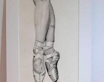 "Ballet dancer legs drawing in 12"" x 8"" mounted frame, graphite drawing original"