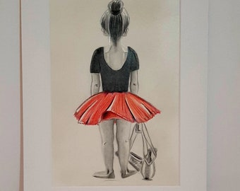 """Ballet dancer girl, drawing in 12"""" x 8"""" mounted frame, graphite with red, drawing original"""