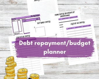 Debt repayment planner with budgeting plan, A4 digital download, planner printable