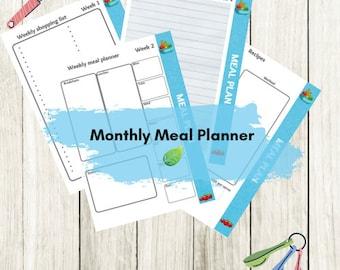 Monthly meal planner, digital download, printable,