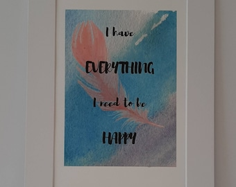 wall art affirmation print. Mounted, size A4, ready to be framed at home