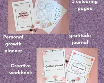 Self care pack, with workbook, planner, colouring pages