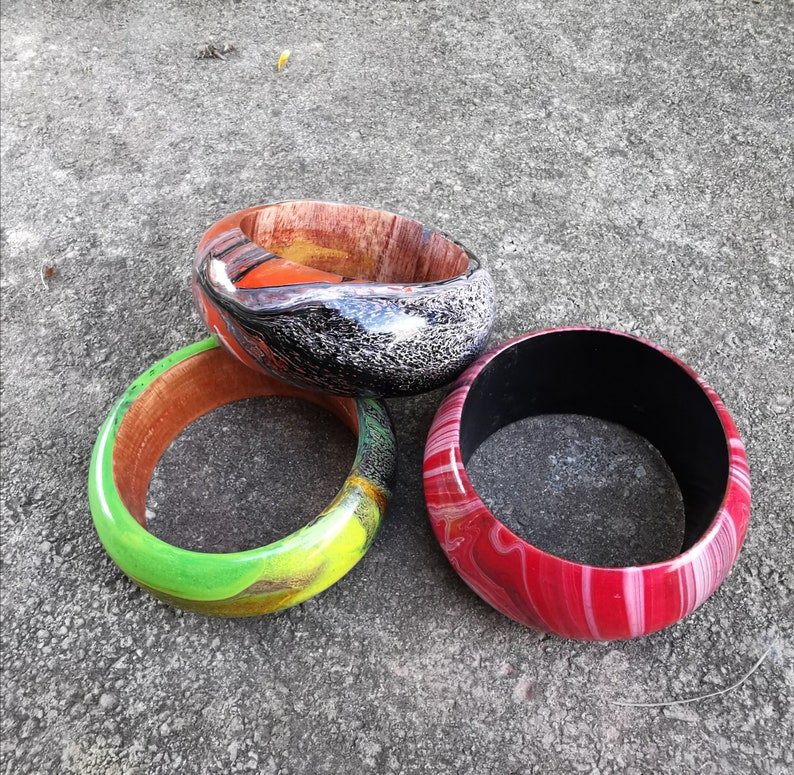 Hand Painted Bangles Bohemian Bangles Wooden Bangles Woodeen Jewelry Chunky Bangles Wide Bangles Natural Jewelry Wooden Bracelets