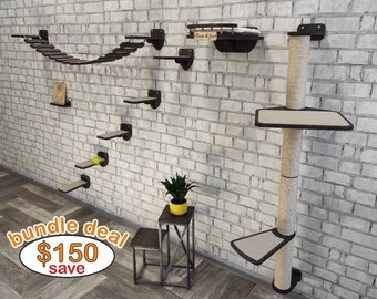 Pet furniture, Cat furniture, Cat wall furniture, Cat tower, Wood cat tree, Unique cat trees, Cat shelves, Cat scratching post, Cat gifts