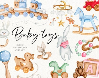 Watercolor wooden baby toys clipart. Baby shower clipart. Nursery clipart. Birthday baby DIY clipart. Newborn cute kids accessories.
