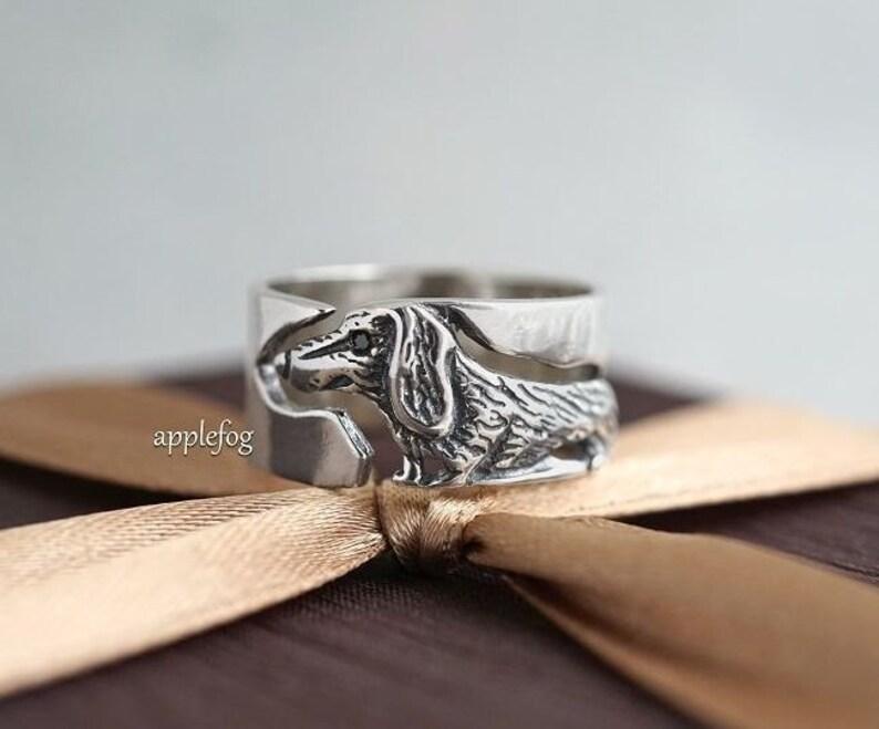 Ring Dog Dachshund silver ring-animal ring-creative gift ring-individual ring-elegant ring-author/'s work-fashion accessories-beautiful ring
