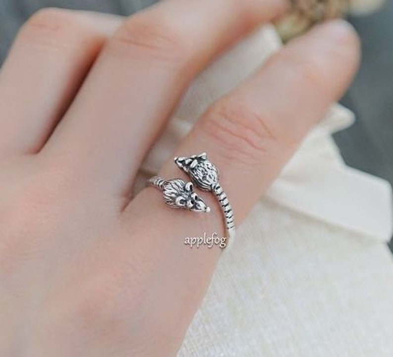 silver ring-animal ring-gift ring-individual ring-elegant ring-author/'s work-fashion accessories-beautiful ring Ring Mice Mouses Rats