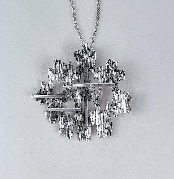 Brutalist Silver Textured Necklace