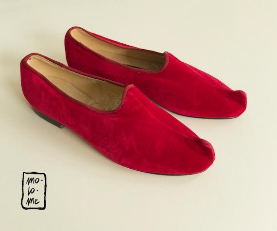 Johnny Moke Hand Made Red Velvet Dragon Shoes