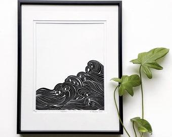 Waves linocut, Waves art, Minimalist art, Ocean inspired art, Original Linocut print, Unframed art print