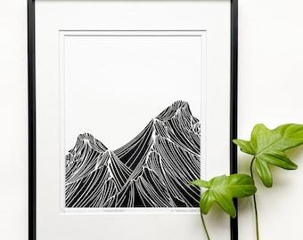 Mountains linocut, Mountains art, Minimalist art, Nature inspired art, Original Linocut print, Unframed art print