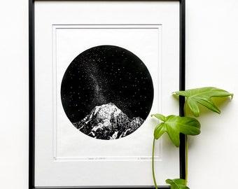 Mountains and stars linocut, Milky Way art print, Original Linocut print, Starlight art, Unframed print