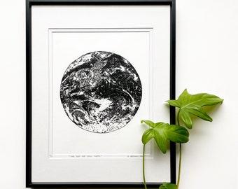 Earth linocut, Earth hand printed, Original Linocut print, planet Earth art, Unframed print
