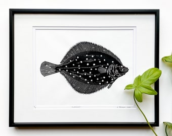 Fish linocut, Flounder art print, Original Linocut print, Marine life art, Unframed print