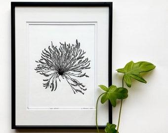 Sea Grass linocut, Sea Meadows hand printed, Original Linocut print, marine life art, Unframed print