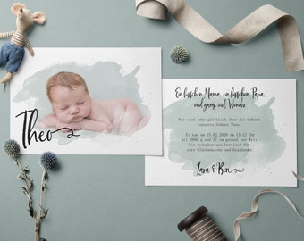 Thank you cards with photo for birth incl. envelope | Birth Card | Newborn Card | Baby Card | Giftcard individual