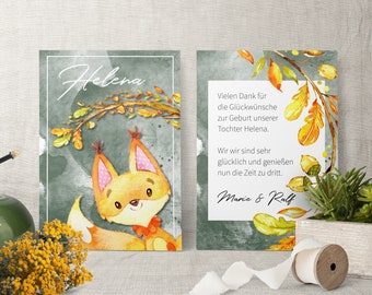Thank you cards for birth incl. envelope | Birth Card | Newborn Card | Baby Card | Giftcard individual