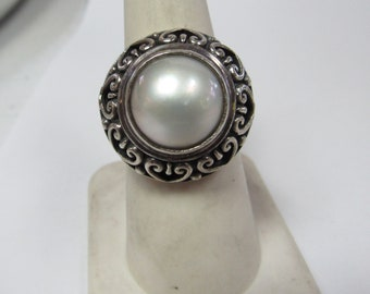 Genuine Gray Mabe Perle Anneau Argent Sterling 925 Fine Jewelry face HAUTEUR 17 MM