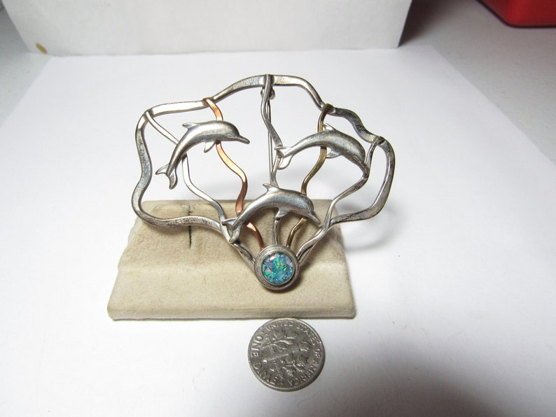 Hand Crafted DOLPHIN PIN  Brooch marked Sterling and signed RL