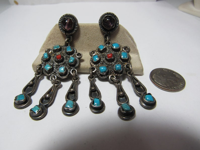 Solid Sterling natural TURQUOISE and CORAL Dangle EARRINGS made in Mexico