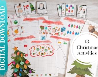 Christmas Activity Printable BUNDLE, Homeschool Activities Digital Download, Preschool Activities, Christmas Themed Activities, Theme Pack
