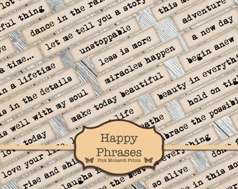 Happy Phrases, Digital Words, Embellishments for Junk Journals, Printable Junk Journaling Words, Collage Ephemera, Happy Junk Journal Words