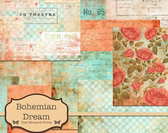 Bohemian Dream Papers, Junk Journal Kit, Digital Junk Journal, Junk Journaling Digital Papers, Bohemian Junk Journal, Printable Papers
