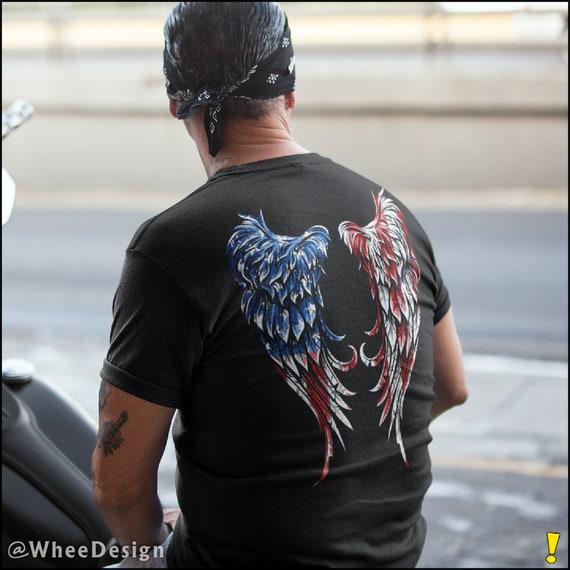 Distressed American Flag Angel Wings Unisex T-Shirt