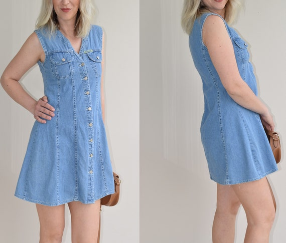 80s Vintage Denim Vest, Replay Denim  Womens Mini