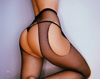 See through clothing ,Stockings for women ,Mesh stockings ,Tights with rhinestones